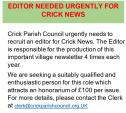 Editor Needed Urgently For Crick News